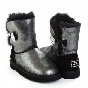 UGG Kids Bailey Button Bling Glitter Black