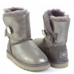 UGG Kids Bailey Button Bling Glitter Grey