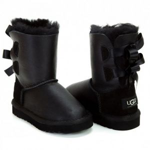 UGG Kids Bailey Bow Metallic Black