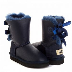 UGG Kids Bailey Bow Metallic Navy